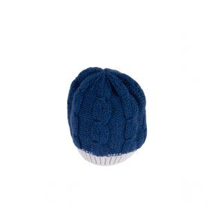 Raffello Bettini cappello in cashmere blu e grigio chiaro
