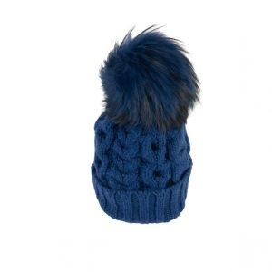 Raffello Bettini cappello in cashmere blu e pon pon in volpe asiatica