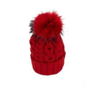 Raffello Bettini cappello in cashmere rosso e pon pon in volpe asiatica