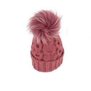 Raffello Bettini cappello in cashmere malva e pon pon in volpe asiatica