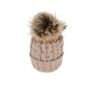 Raffello Bettini cappello in cashmere avorio e pon pon in volpe asiatica