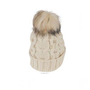 Raffello Bettini cappello in cashmere bianco e pon pon in volpe asiatica grigio chiaro