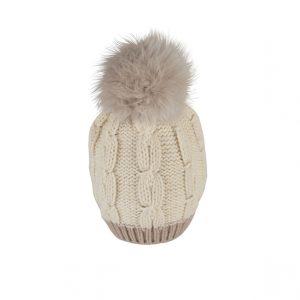 Raffello Bettini cappello in cashmere bianco e pon pon in volpe grigio chiaro