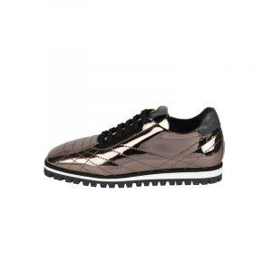 7:AM Sneaker Stringata in Pelle Metallizzata Canna di Fucile
