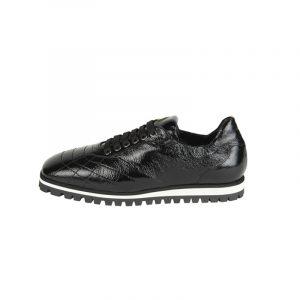 7:AM Sneaker Stringata in Pelle Nera Lucida
